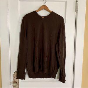 Gap Men's Sweater Brown XL 100% cotton v-neck